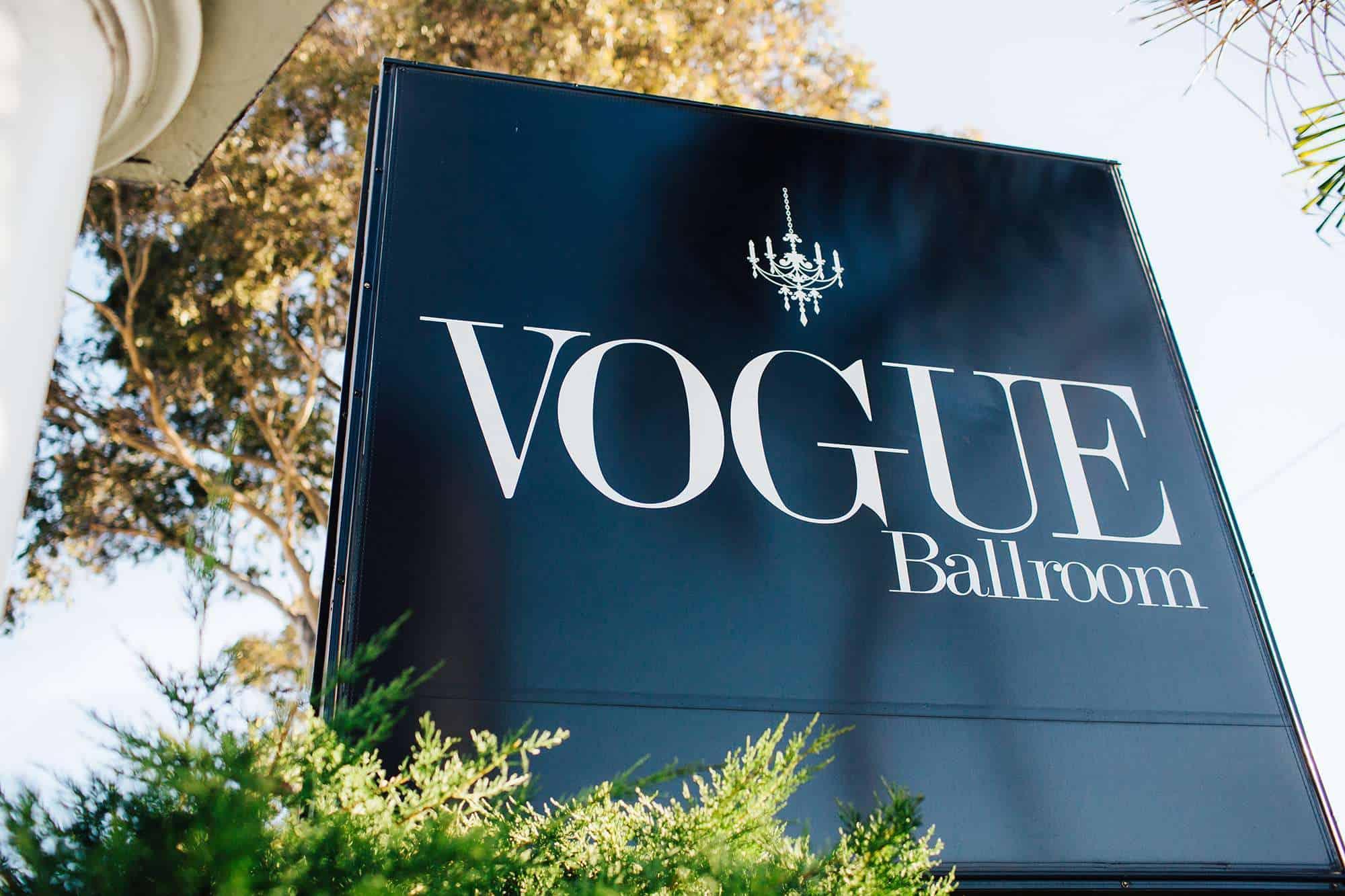 signage outside vogue ballroom wedding venue in melbourne