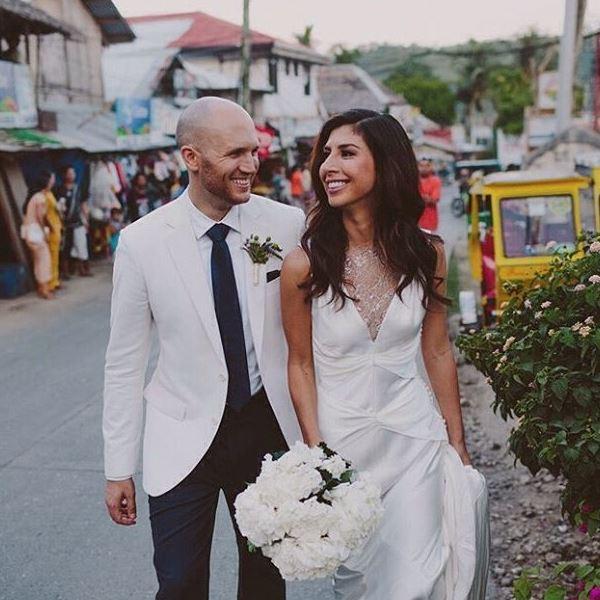 couple walking road photo
