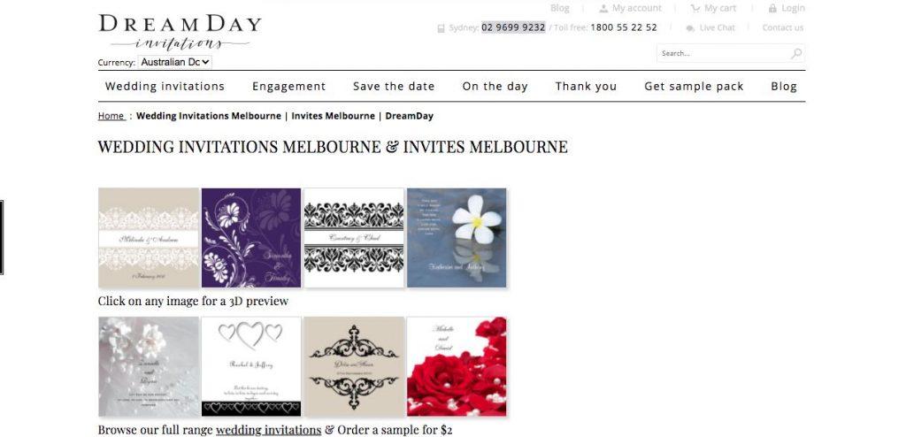 Wedding Invitation Mebourne