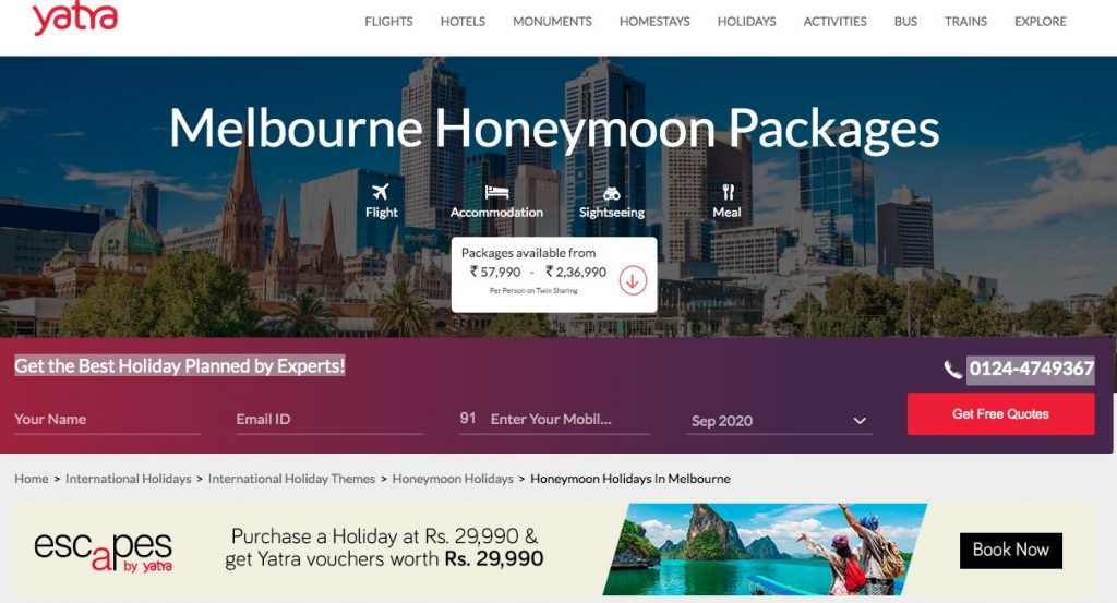 Honeymoon Packages Melbourne