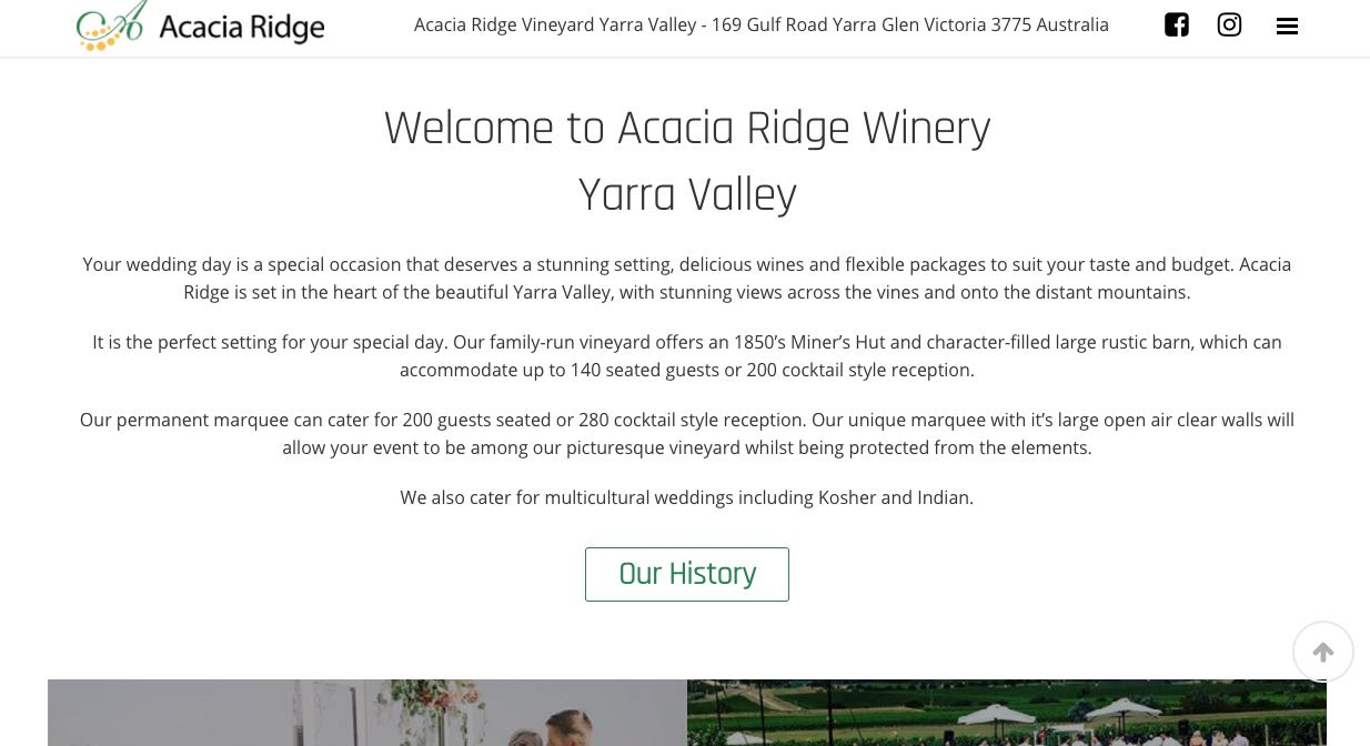 Acacia Ridge Wedding Reception Venue Yarra Valley