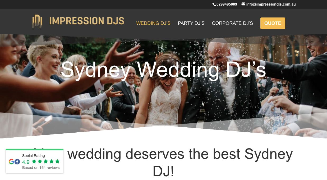 Impression DJs - Wedding DJ Sydney