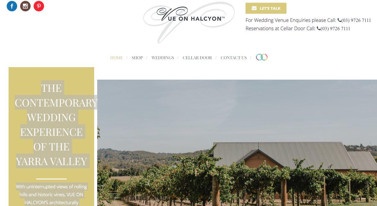 Vue on Halcyon Yarra Valley Wedding Venue