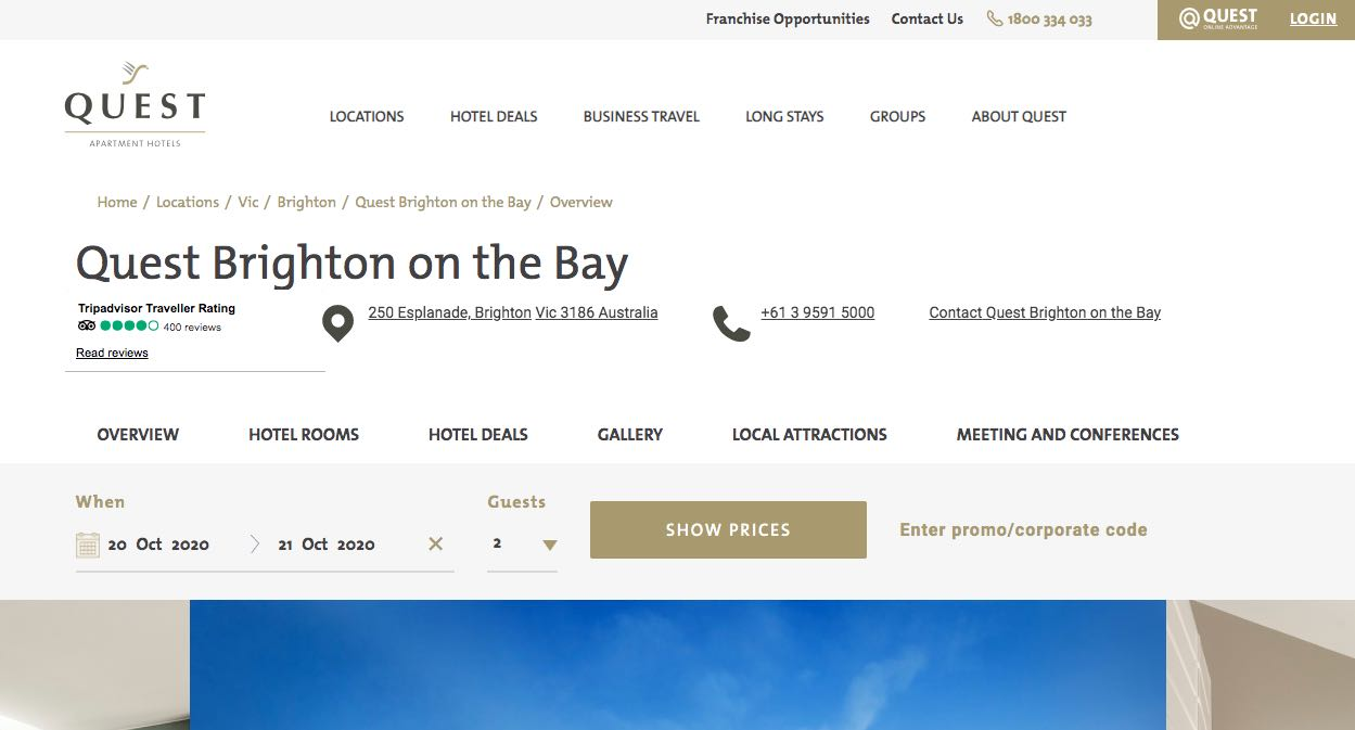 Quest Brighton on the Bay - Accommodation and Hotel Burwood, Melbourne